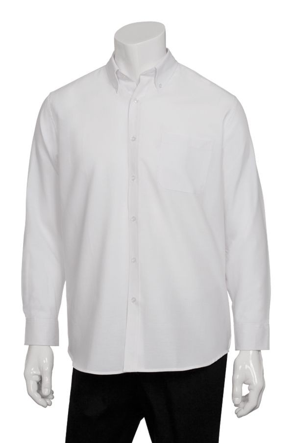 Chef Works D500 Men's Oxford Shirt, White