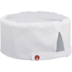 Chef Works DFWB Poly/Cotton White Cool Vent Chef Beanie