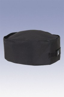 Chef Works DRBK Poly/Cotton Double Rimmed Black Chef Beanie