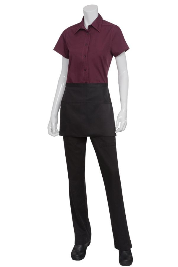 Chef Works F22 Two-Pocket Square Black Waist Apron