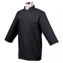 Chef Works JLCL-BLK Basic 3/4 Sleeve Cool Vent Chef Coat, Black