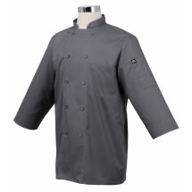 Chef-Works-JLCL-GRY-Basic-3-4-Sleeve-Cool-Vent-Chef-Coat--Gray