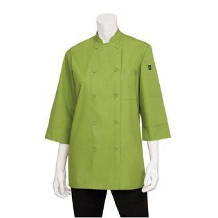 Chef Works JLCL-LIM Basic 3/4 Sleeve Cool Vent Chef Coat, Lime