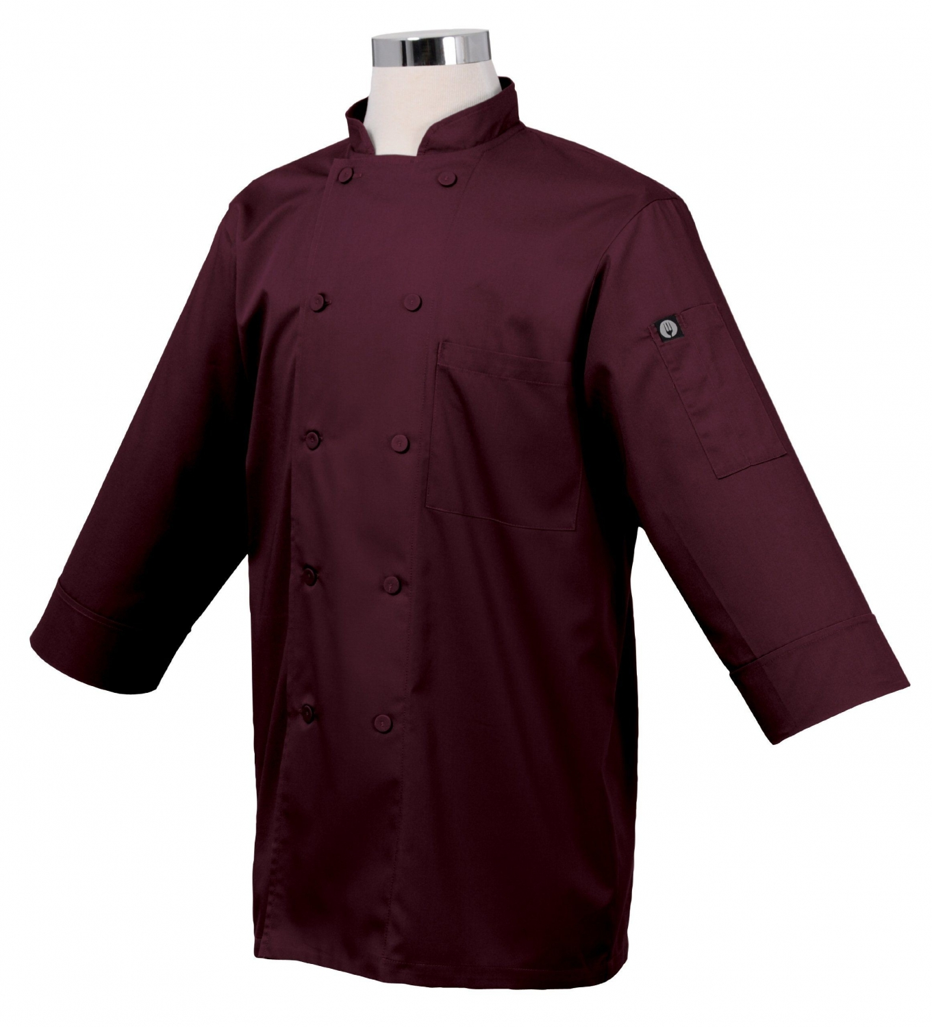 Chef Works JLCL-MER Basic 3/4 Sleeve Cool Vent Chef Coat, Merlot