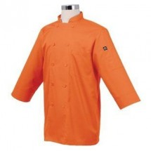 Chef-Works-JLCL-ORA-Basic-3-4-Sleeve-Cool-Vent-Chef-Coat--Orange
