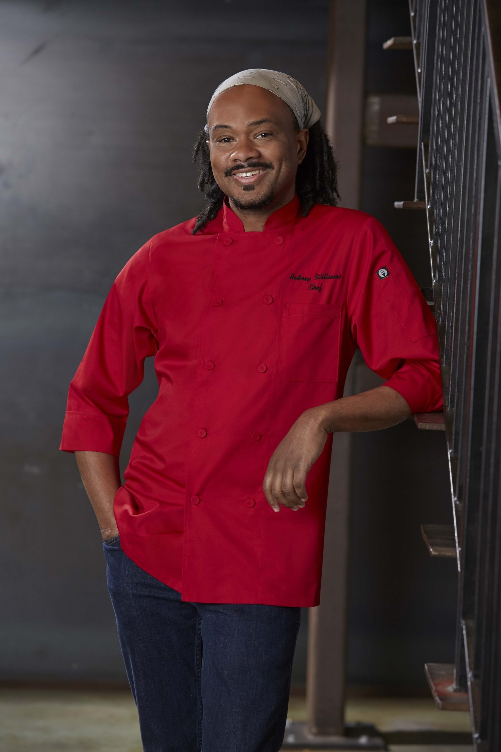Chef Works JLCL-RED Basic 3/4 Sleeve Cool Vent Chef Coat, Red