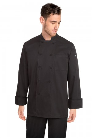Chef Works JLLS-BLK Calgary Black Cool Vent Basic Chef Coat