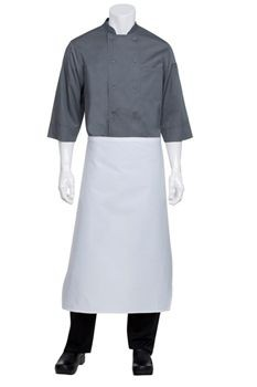 Chef Works LCBA White Tapered Waist Apron without Pocket