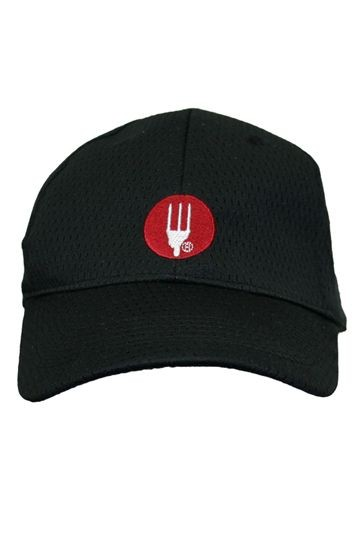 Chef Works PROMO-CP1 Black Cool Vent Baseball Cap with Chef Works Logo