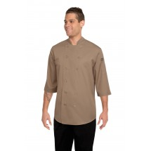 Chef Works S100-KHA Poly/Cotton Lite Twill Chef Shirt, Khaki