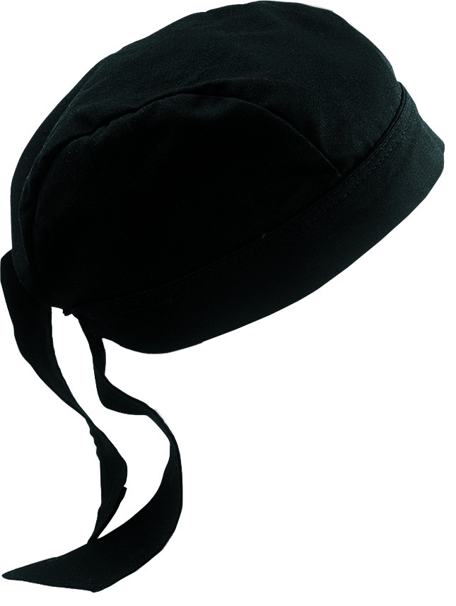 Chef Works SCBL Poly/Cotton Black Head Wrap
