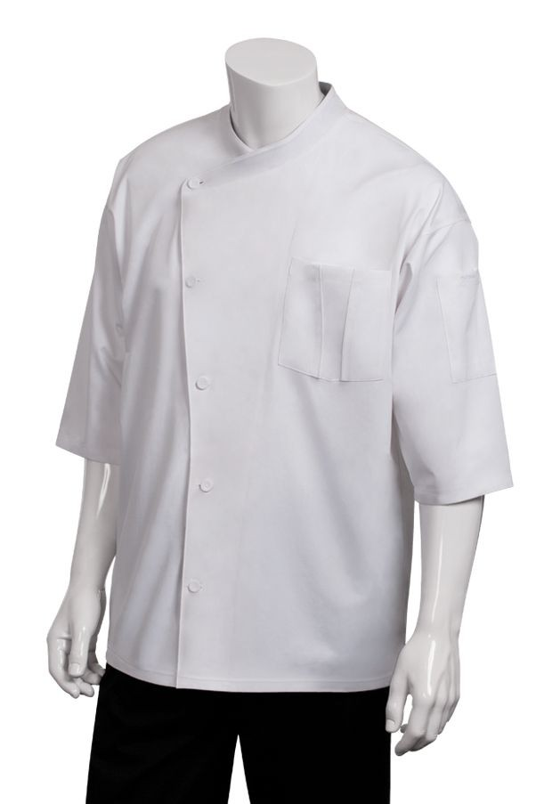 Chef Works SI34 Positano Signature Series 3/4 Sleeve White Chef Coat with Trim