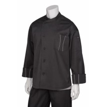 Chef Works SILSBTG Amalfi Signature Series Black Chef Coat with Gray Trim