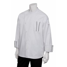 Chef Works SILSWET Amalfi Signature Series White Chef Coat with Black Trim