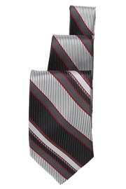 Chef Works TPST Black/Silver/Burgundy Striped Tie