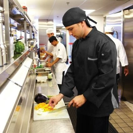 Chef Works VSLS-BGC V-Series Lyss Long Sleeve Black Chef Coat