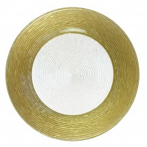 The Jay Companies 1470276 Round Circus Gold Border Glass Charger Plate 13""