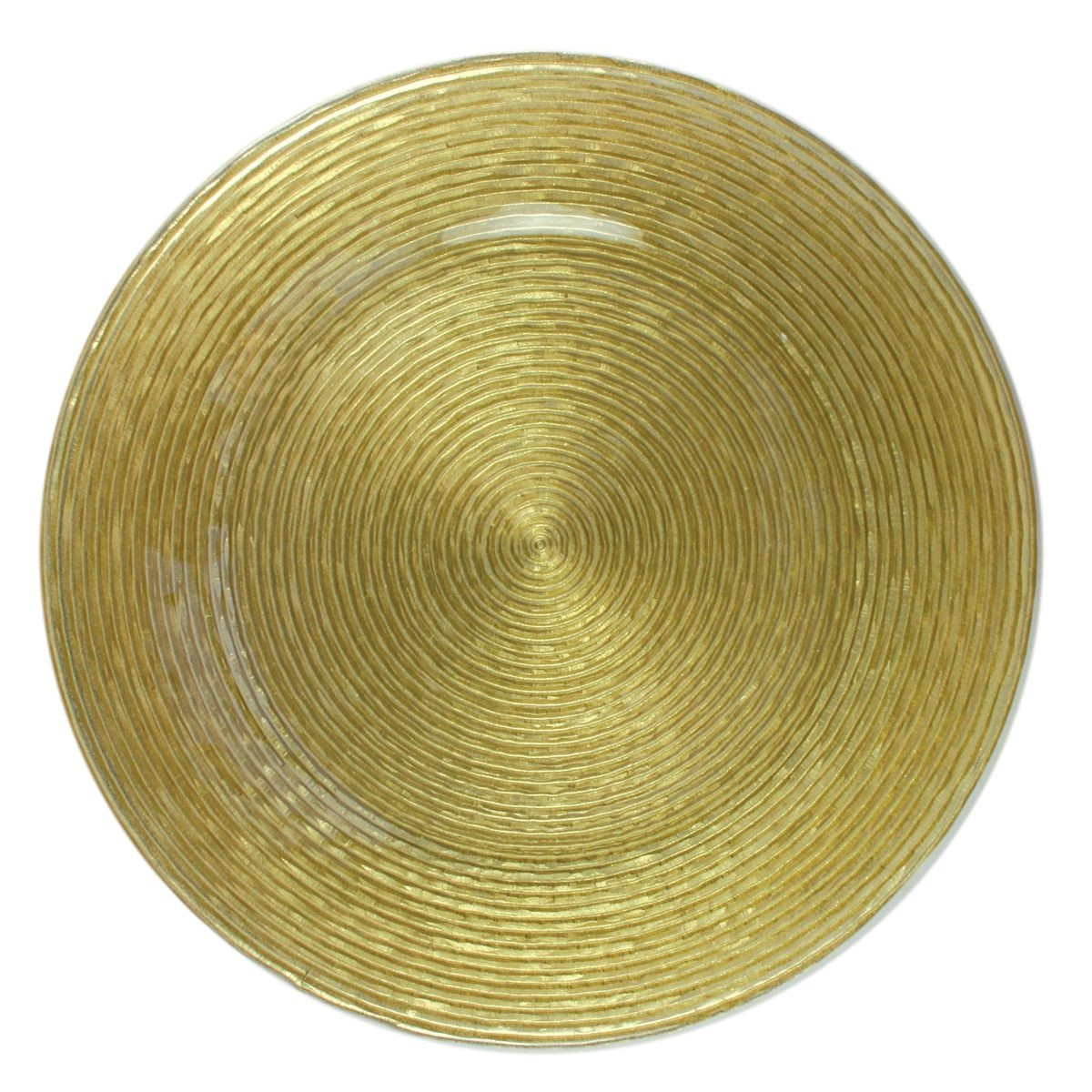 The Jay Companies 1470064 Round Circus Gold Glitter Glass Charger Plate 13""