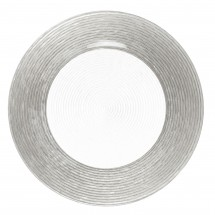 """The Jay Companies 1470275 Round Circus Silver Border Glass Charger Plate 13"""""""