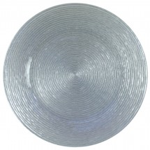 """The Jay Companies 1470063 Round Circus Silver Glitter Glass Charger Plate 13"""""""