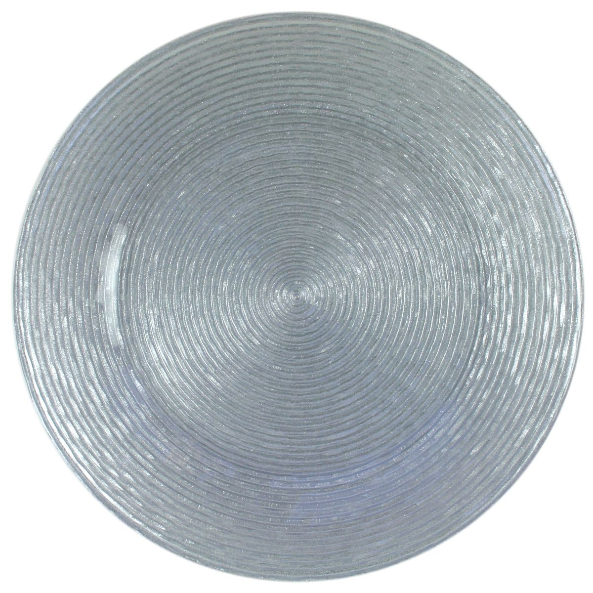 The Jay Companies 1470063 Round Circus Silver Glitter Glass Charger Plate 13""