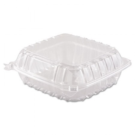 ClearSeal Hinged-Lid Plastic Containers, 8 3/10 x 8 3/10 x 3, Clear, 250/Carton