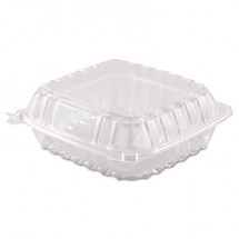 Dart ClearSeal Hinged-Lid Plastic Containers, 8 3/10 x 8 3/10 x 3, 250/Carton