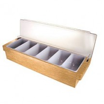 Co-Rect-CH0103-Wood-6-Compartment-Condiment-Holder