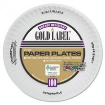 """Coated White Paper Plates, 9"""", 1200/Carton"""