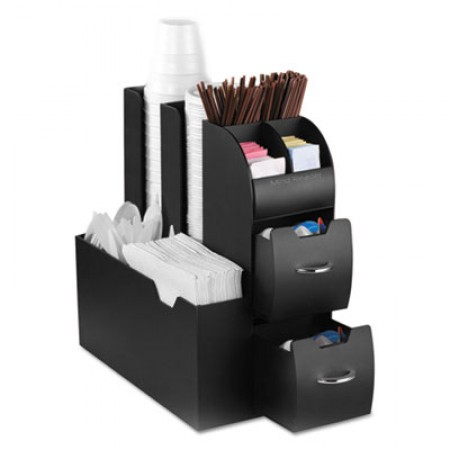 Coffee Condiment Caddy Organizer, 5 2/5 x 11 x 12 3/5, Black