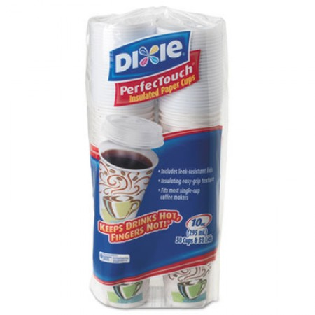 Dixie Combo Bag, Paper Hot Cups with Lids, 10 oz., 50/Pack, 6 Packs/Carton