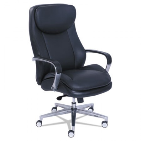 Commercial 2000 High-Back Executive Chair, Supports up to 300 lbs., Black Seat/Black Back, Silver Base