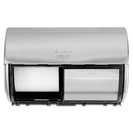 Compact Coreless Side-by-Side 2-Roll Dispenser, 10.13 x 6.75 x 7.13, Stainless