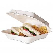 """Eco-Products Compostable Hot Food Clamshell Containers, 3"""" x 8"""" x 8"""", 200/Carton"""