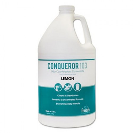 Conqueror 103 Odor Counteractant Concentrate, Lemon, 1 Gallon, 4/Carton