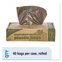 """Controlled Life-Cycle Plastic Trash Bags, 39 gal, 1.1 mil, 33"""" x 44"""", Brown, 40/Box"""