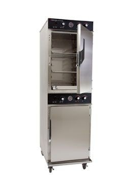 CresCor 1000-CH-AL-2D Mobile Cook and Hold Cabinet with Two Separate Compartments