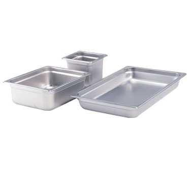 "Crestware 2222 Saf-T-Stak Half Size Long Steam Table Pan 2-1/2"" Deep"