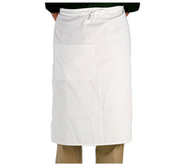 Crestware BW White Two-Pocket Bistro Apron