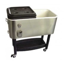 Crestware COOLER1 Stainless Steel Cooler with Cart 68 Qt.