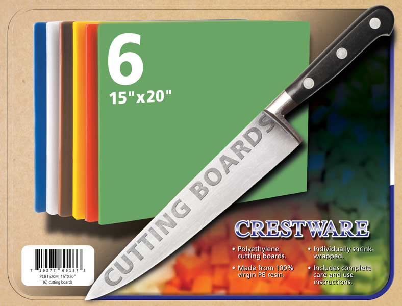 "Crestware PCB1520M Polyethylene Cutting Board Set 15"" x 20"" - 6 pcs"