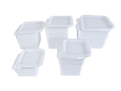 Crestware SQW4 White Square Food Storage Container 4 Qt.