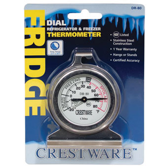 Crestware TRMDR80 Refrigerator / Freezer Dial Thermometer