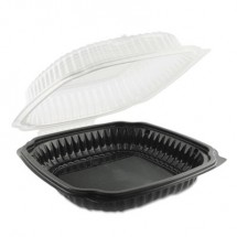 Culinary Classics Microwavable Containers, 39 oz., Clear/Black, 100/Carton