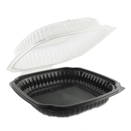 Culinary Classics Microwavable Containers, 47.5 oz., Clear/Black, 100/Carton