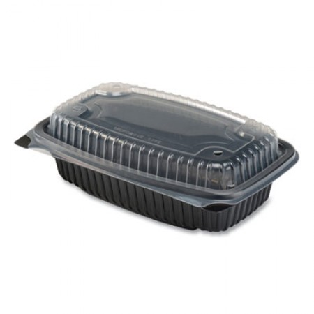 Culinary Lites Microwavable Containers, 34 oz., 9.55 x 6.65 x 3.04, Clear/Black, 100/Carton