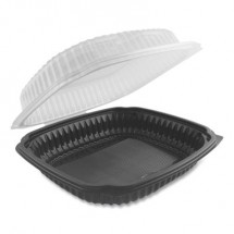 Culinary Lites Microwavable Containers, 39 oz., 9 x 9 x 3.01, Clear/Black, 100/Carton