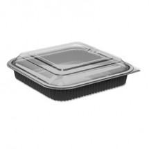Culinary Squares 2-Piece Microwavable Containers, 36 oz., Clear/Black, 8.46 x 8.46 x 2.25, 150/Carton