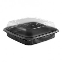 Culinary Squares 2-Piece Microwavable Containers, 36 oz., Clear/Black, 8.46 x 8.46 x 2.91, 150/Carton