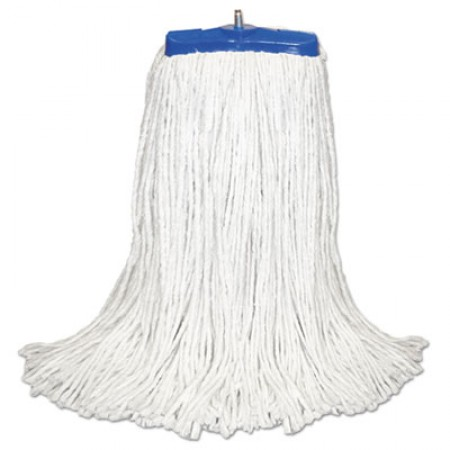 Cut-End Lie-Flat Mop Head, Rayon, 16oz, White, 12/Carton